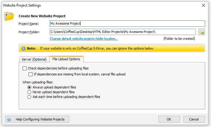 Website Projects File Upload Settings