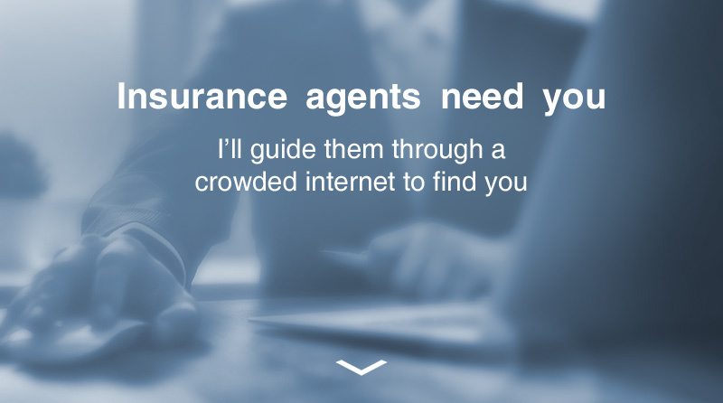Insurance agents need you. I'll guide them through a crowded internet to find you.